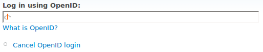 Screenshot of Drupal OpenID login form