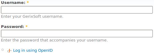 Screenshot of Drupal login form with OpenID link