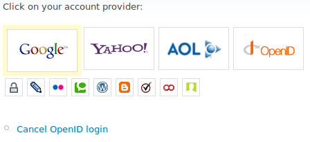 Screenshot of Drupal login form with OpenID Selector