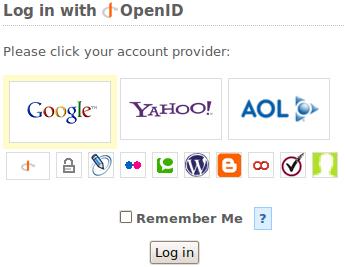 Screenshot of SourceForge OpenID login form