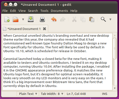 Screenshot of gedit using new Ubuntu font