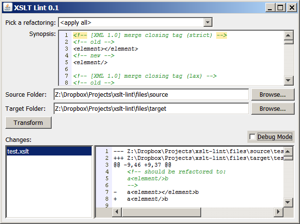Screenshot of XSLT Lint GUI
